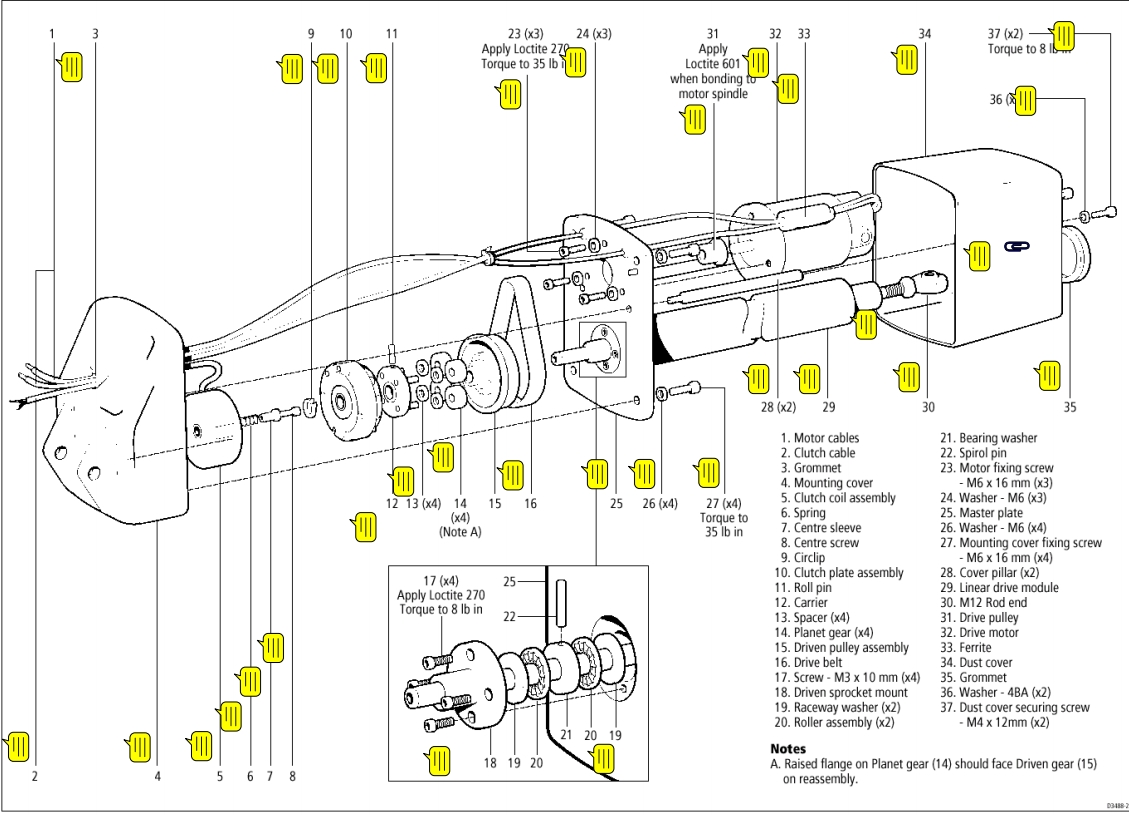 mechanical linear drive exploded diagram    parts list